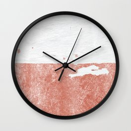 white paint with peeling rose gold foil Wall Clock