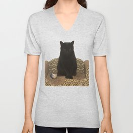 The Queen on her Couch, Edie the Manx, Black Cat Photograph Unisex V-Neck