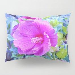 Elegant Pink Hibiscus Flower with Wavy Aqua Foliage Pillow Sham