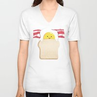morning V-neck T-shirts featuring Morning Breakfast by Picomodi