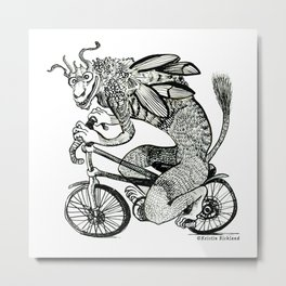 Tengu on a Bike - black Metal Print
