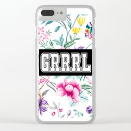 GRRRL - white floral pattern Clear iPhone Case