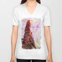 kandinsky V-neck T-shirts featuring DayDreaming - Intense Multi-Color Vibrant Abstract Mixed Media Digital Painting by Mark Compton