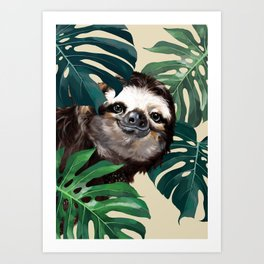 Sneaky Sloth with Monstera Art Print