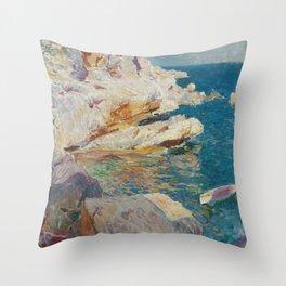 Joaquin Sorolla Y Bastida - Rocks at Javea. The white boat Throw Pillow