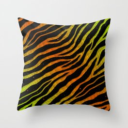 Ripped SpaceTime Stripes - Lime/Orange Throw Pillow