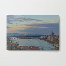 Danube River Budapest Sunset Metal Print