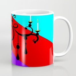 A Chandler with Candles and a Blue, red, purple Background Coffee Mug