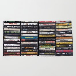 Old 80's & 90's Hip Hop Tapes Beach Towel
