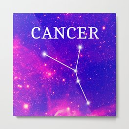 Starry Cancer Constellation Metal Print