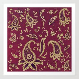 Paisley in Gold Art Print