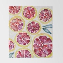 Sliced Grapefruits Watercolor Throw Blanket