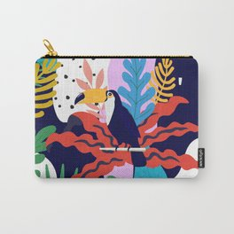 ABSTRACT TROPICAL JUNGLE AND TOUCAN BIRD PATTERN Carry-All Pouch