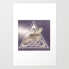 Nuit, the great-horned owl on white Art Print