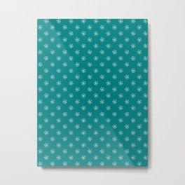 White on Teal Green Snowflakes Metal Print