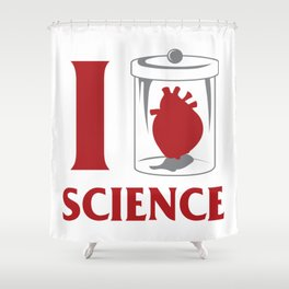 I love Science Chemistry Physics Teacher Gift Shower Curtain