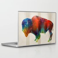 nfl Laptop & iPad Skins featuring Buffalo Animal Print - Wild Bill - By Sharon Cummings by Sharon Cummings