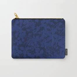 Blue on Blue - Broken but Flourishing Botanical Pattern Carry-All Pouch