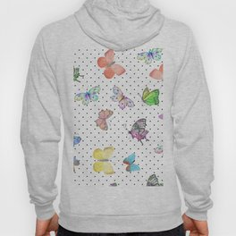 Colorful pink teal watercolor hand painted butterfly polka dots Hoody