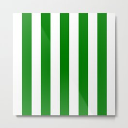Green (HTML/CSS color) - solid color - white vertical lines pattern Metal Print