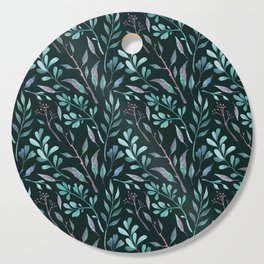Branches with leaves on dark background Cutting Board