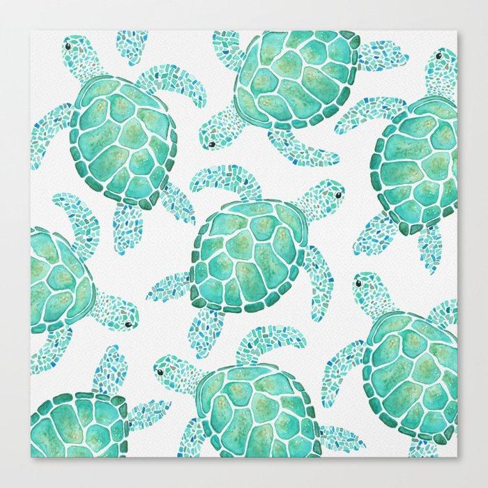 Sea Turtle Pattern - Blue Leinwanddruck