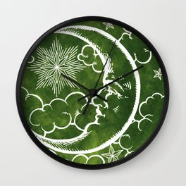 Moon vintage green Wall Clock