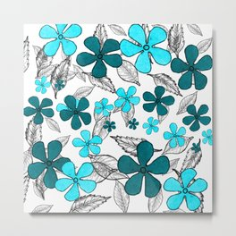 Blue digital flowers Metal Print