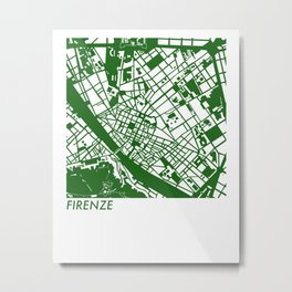 1926 Florence Italy - Figure Ground Map (green) Metal Print