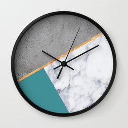 MARBLE TEAL GOLD GRAY GEOMETRIC Wall Clock