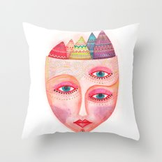 girl with the most beautiful eyes mask portrait Throw Pillow