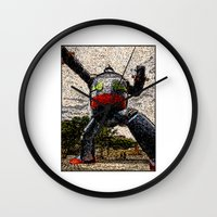 kobe Wall Clocks featuring Guardian of Kobe By Eku Zhong by SLUniverse
