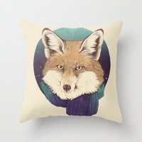 fox Throw Pillows featuring Fox by Laura Graves