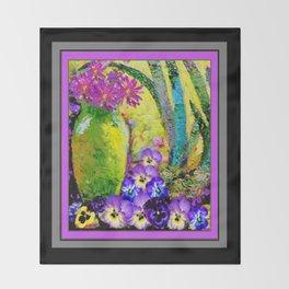 Chartreuse-Violet art Vase Pansies Floral Painting Throw Blanket