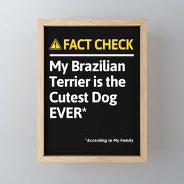 Brazilian Terrier Dog Owner Funny Fact Check Family Gift Framed Mini Art Print