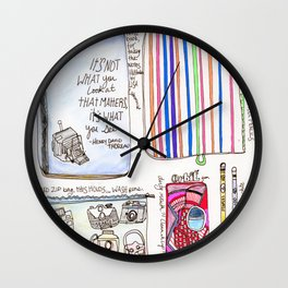What's in your bag - Illustration Wall Clock