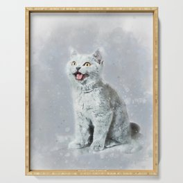 Watercolor British shorthair kitten Serving Tray
