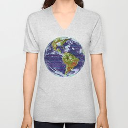 Stripey Earth Unisex V-Neck