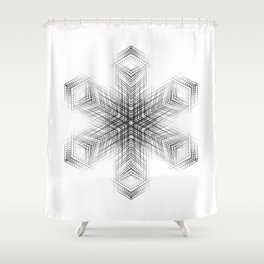 Minimalist geometric flower pattern in black and white Nordic style Shower Curtain