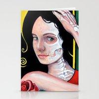 dia de los muertos Stationery Cards featuring Dia de los Muertos by whiterabbitart
