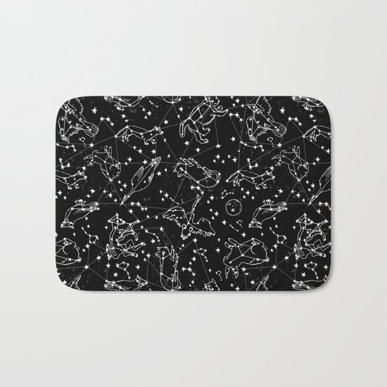 Constellations animal constellations stars outer space night sky pattern by andrea lauren black Bath Mat
