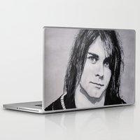 kurt cobain Laptop & iPad Skins featuring Cobain Kurt Portrait. by Dioptri Art
