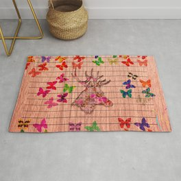 Rustic brown wood floral dear head cute butterflies Rug