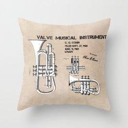 Valve musical instrument patent art Throw Pillow