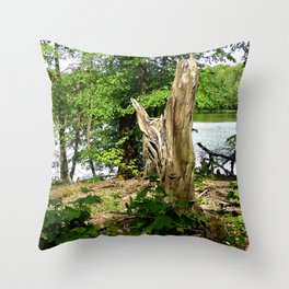 Dead tree with forest and lake photo Throw Pillow