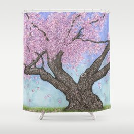 Cherry Blossom Tree Ink and Watercolor  Shower Curtain