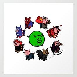 Pig-vengers Assemble! (White) Art Print