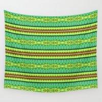 friendship Wall Tapestries featuring Pattern Friendship Bracelet green by Christine baessler