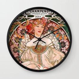 "Alfons Mucha, "" F.Champenois "" Wall Clock"