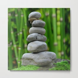 Japan Photography - Stones Stacked On Each Other In A Bamboo Forest Metal Print